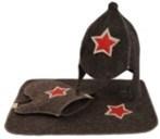 """Комплект для сауны  """"Буденовка"""" (3 предмета, серый)"""